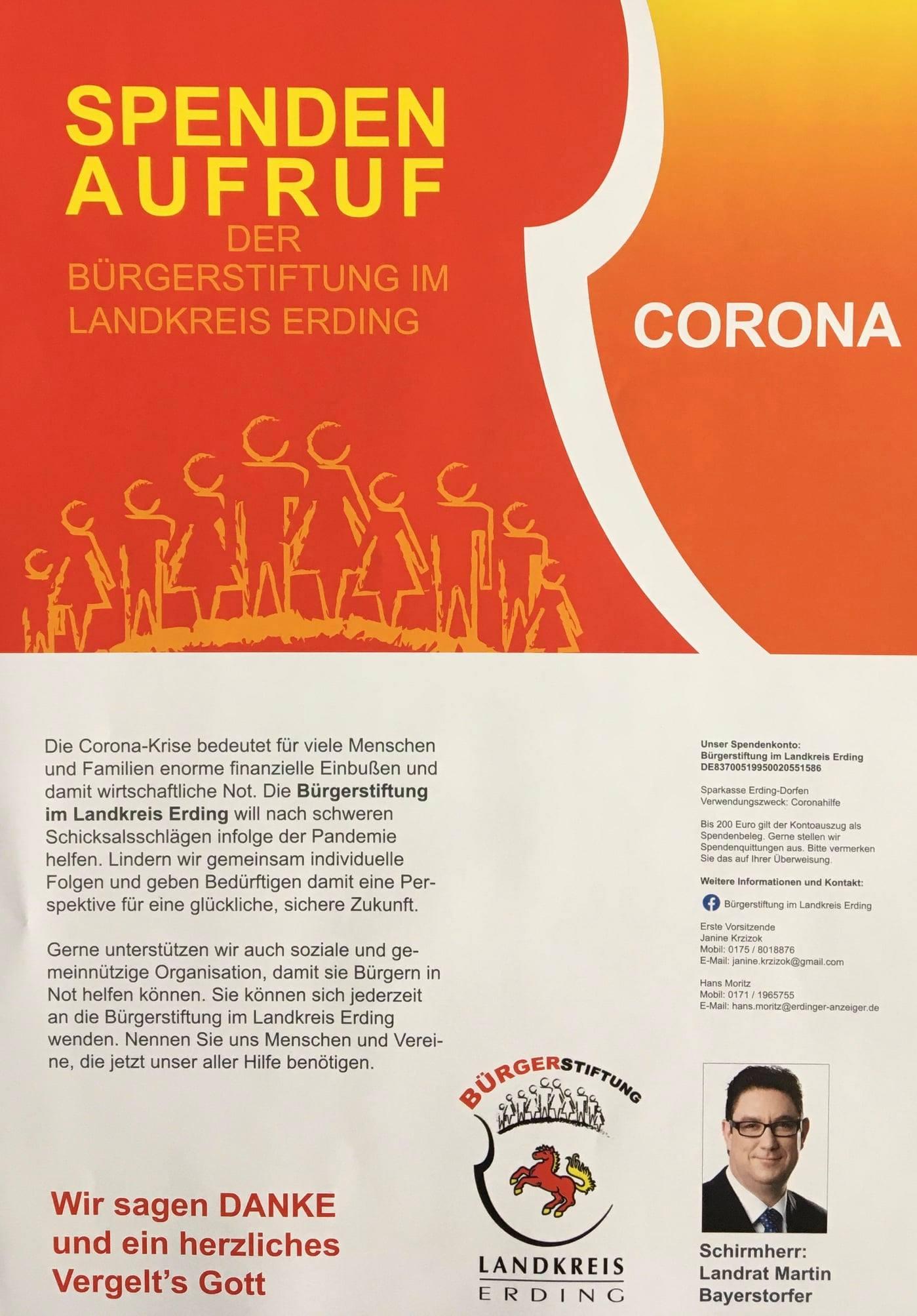 Spenden zur Corona-Hilfe willkommen