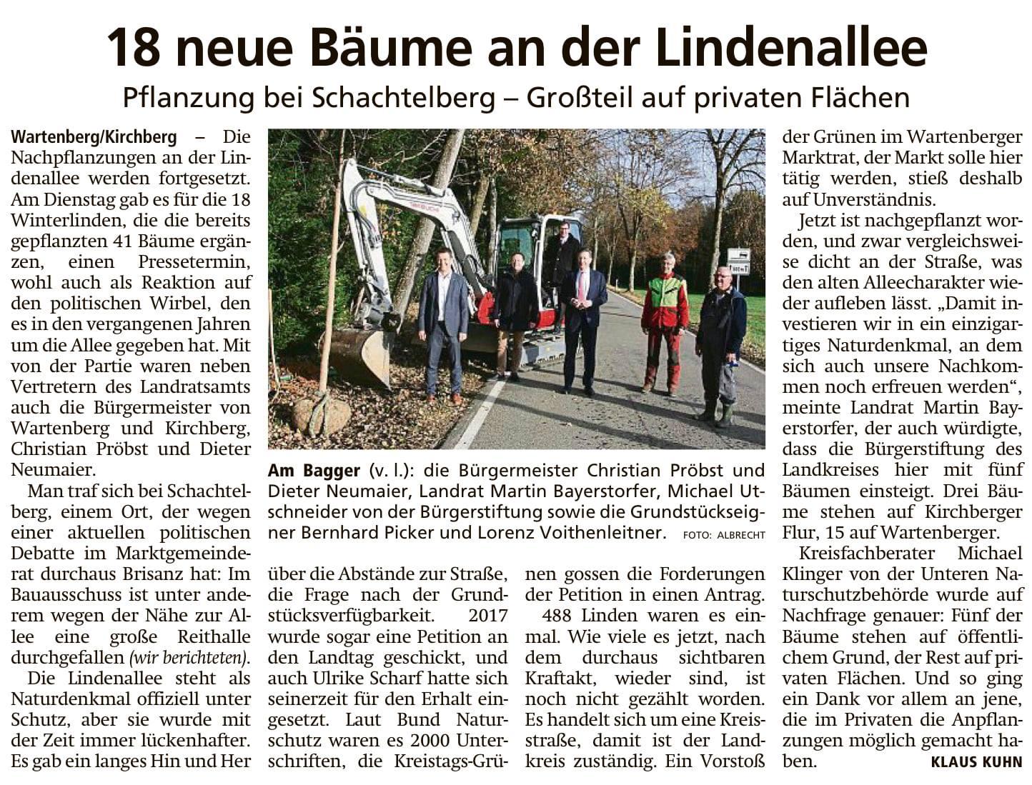 """""""Fünf Linden für die Lindenallee zwischen Wartenberg und Kirchberg – Kulturlandschaft und Naturschutz."""""""